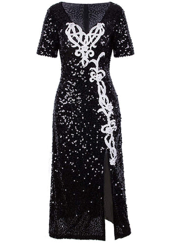Vijiv Womens 1920s Slit Dresses Plus Size with Sleeves Vintage V Neck Sparkly Sequin Cocktail Evening Dress