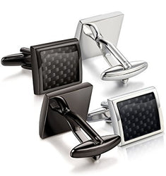 Jstyle Carbon Fiber Cufflinks for Men Shirt Unique Business Wedding