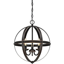 6341800 Stella Mira Three-Light Pendant, Oil Rubbed Bronze Finish with Highlights