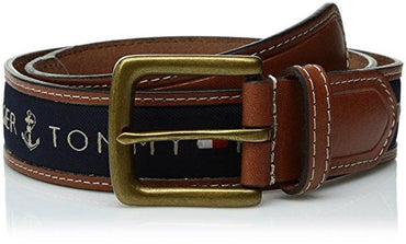 Tommy Hilfiger Men's Ribbon Inlay Belt (Standard & Big and Tall Sizes)