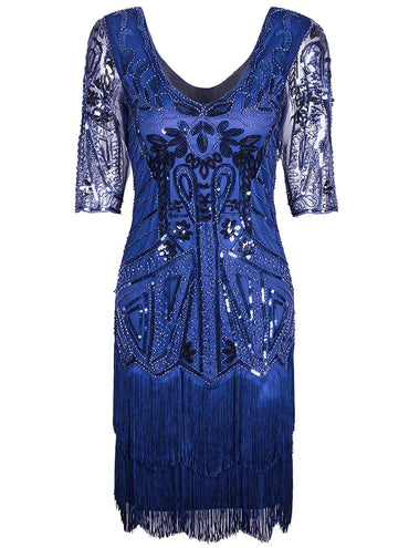 Vijiv Women's 1920s Flapper Dress V Neck Beaded Art Deco Tassel Cocktail Dresses with Sleeves