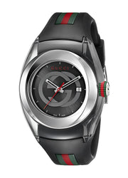 Gucci SYNC L Stainless Steel Watch with Black Rubber Band(Model:YA137301)