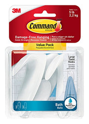 Command Towel Hook Value Pack, Large, Clear Frosted, 3-Hooks, 3-Large Water-Resistant Strip...