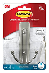 Command Large Double Bath Hook, Satin Nickel, 1-Hook, 1-Large Water-Resistant Strip
