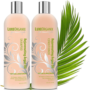 LuxeOrganix Travel Shampoo and Conditioner Set: TSA Approved, Cruelty and Sulfate-Free. Safe for Color Treated, Keratin Treated Hair. Moroccan Argan Oil