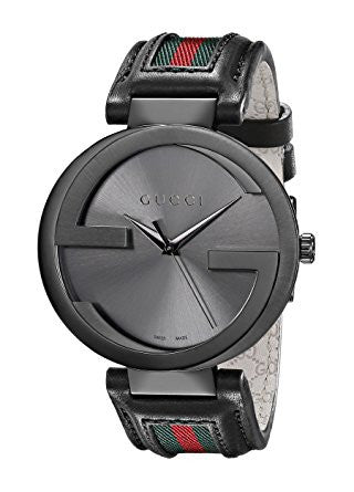 Gucci YA133206 Interlocking Iconic Bezel Anthracite Stainless Steel Watch with Leather Band