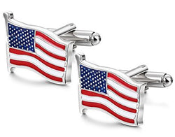 FIBO STEEL American Flag Cufflinks for Men Business Wedding 1 Pair