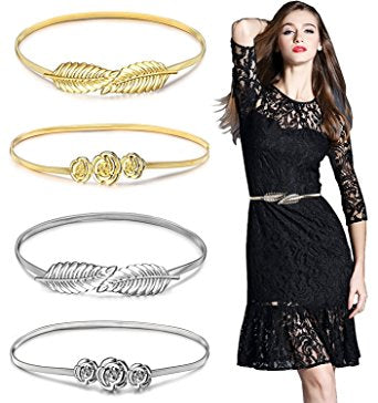 Belts for Women,Gellwhu 4pcs Women's Metal Leaf Stretchy Elastic Belts Dress Belt