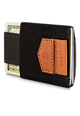 HUSKK Slim Leather Minimalist Wallet - Credit Card Holder - Up to 10 Cards