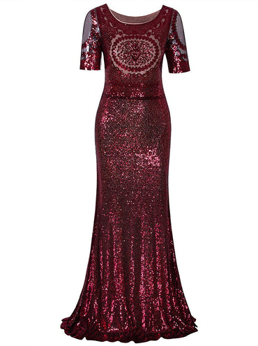 Vijiv 1920s Long Wedding Prom Dresses 2/3 Sleeves Sequin Beaded Party Formal Evening Gowns