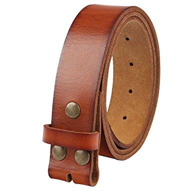 "NPET Men's Genuine Leather Belt Full Grain Snap On Belts 1.5"" Wide"