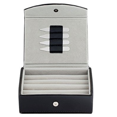 Mens Leather Travel Cufflinks Ring Box Includes 2 Pairs Metal Collar Stays - Holds 9 To 12 pairs.