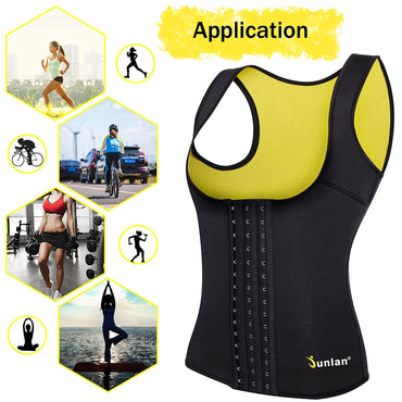 Junlan Women Neoprene Waist Trainer Vest Corset Tank Top Sauna Body Shaper Weight Loss