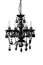 "The Original Gypsy Color 4 Light Small Black Chandelier H18"" W15"", Black Metal Frame with Black Acrylic Crystals"
