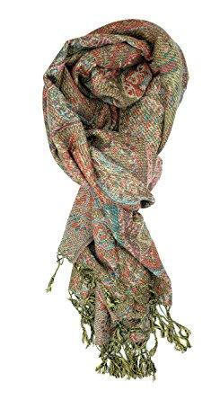 Plum Feathers Tapestry Ethnic Paisley Pattern Pashmina Scarf