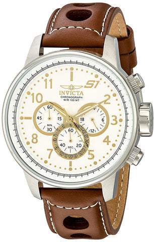 "Invicta Men's 16010 S1 ""Rally"" Stainless Steel Watch with Brown Leather Band"