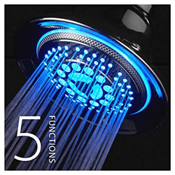 DreamSpa All Chrome Water Temperature Controlled Color Changing 5-Setting LED Shower-Head!