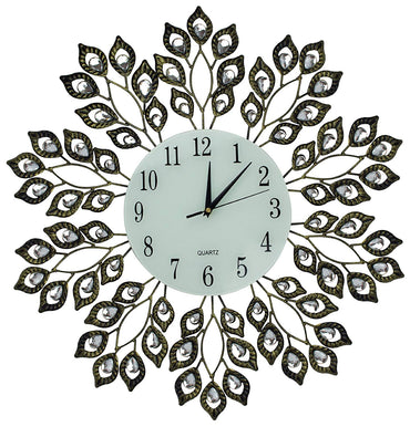 "LuLu Decor, 25"" Crystal Leaf Metal Wall Clock, 9"" White Glass Dial with Arabic Numerals, Decorative Clock for Living Room, Bedroom, Office Space"
