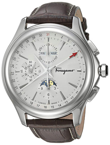 Salvatore Ferragamo Men's 'Time L.E' Swiss automatic Stainless Steel and Leather Casual Watch, Color:Brown (Model: FFU010016)