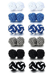 Jstyle Silk Knot Cufflinks for Men Women Shirt Unique Vintage 6 Pairs a Set