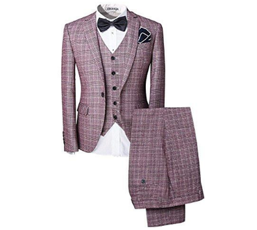 Mens 3-Piece Suit One Button Plaid Dress Blazer Jacket & Vest & Trousers Set