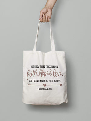 Living Words Faith Hope Love - Tote Bag