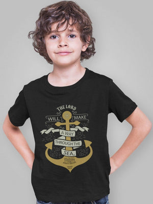 Living Words Kids Round Neck T Shirt Boy / 12-23 Mn / Black Kid's Jesus/Christian T Shirts - The Lord will make a way