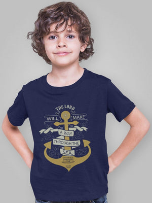 Living Words Kids Round Neck T Shirt Boy / 12-23 Mn / Navy Blue Kid's Jesus/Christian T Shirts - The Lord will make a way