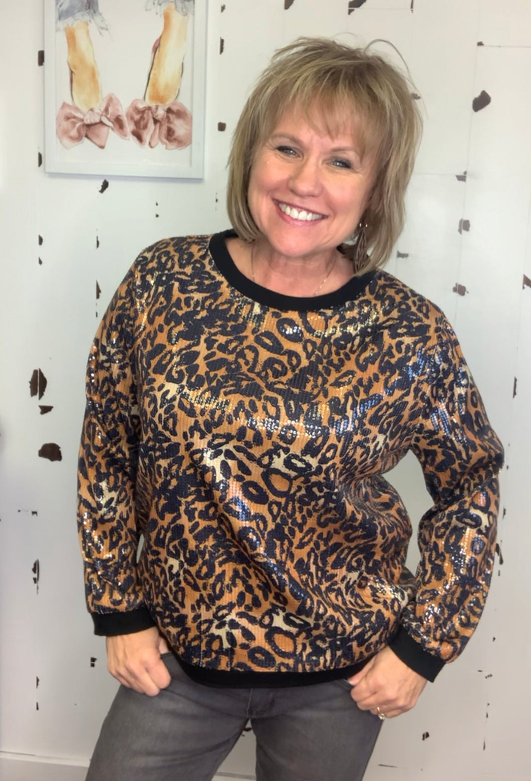 Celebrate Cheetah Sweatshirt - L and B