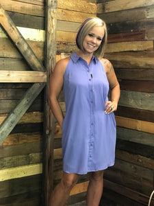Button It Up Swing Dress - Tanzanite or Black