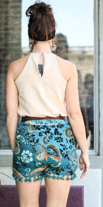 Teal Floral Tassel Trim Shorts