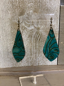 Hair On Hide Earrings - Teardrop - 2 Finishes