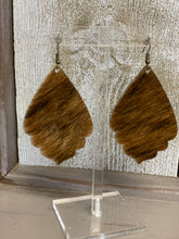 Load image into Gallery viewer, Hair On Hide Earrings - Petal bottom - 2 Finishes