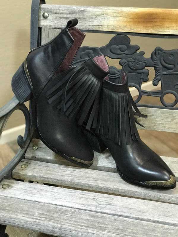 Fringe Leather Bootie