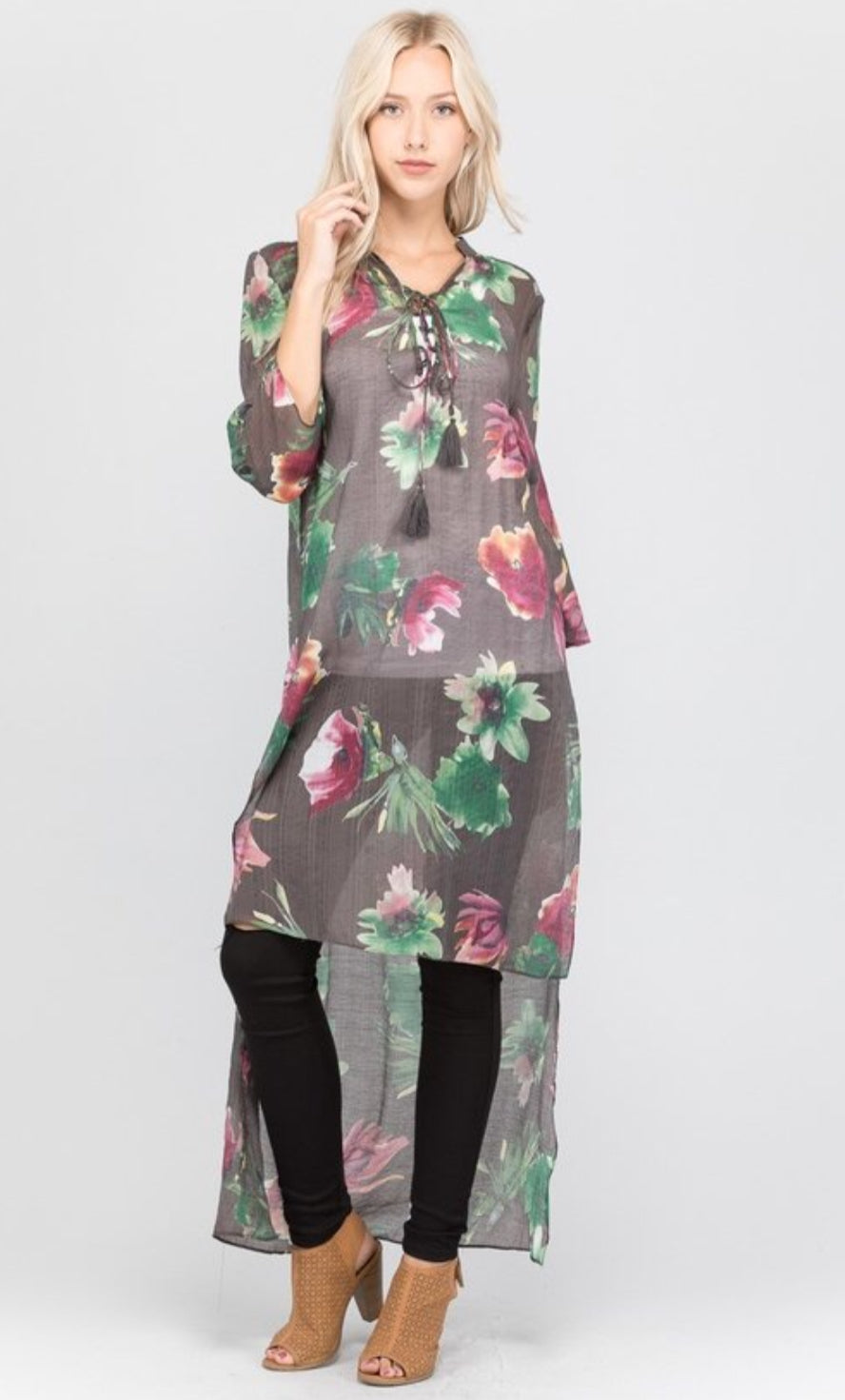 Floral Print High Low Tunic