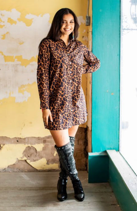 Amber Leopard Rose Tunic