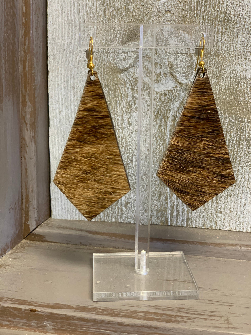 Hair On Hide Earrings - Squared Teardrop - 2 Finishes