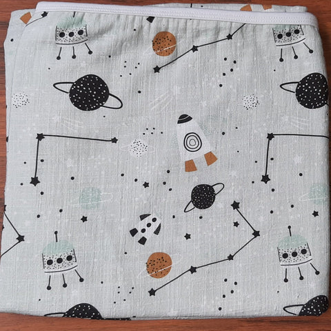 Space Theme Muslin Swaddle Blanket 1m x 1m