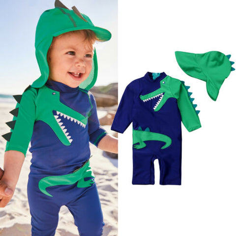 Dinosaur swimsuit with matching hat
