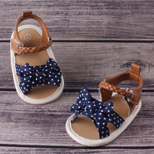 Bow-knot polka dot soft shoes