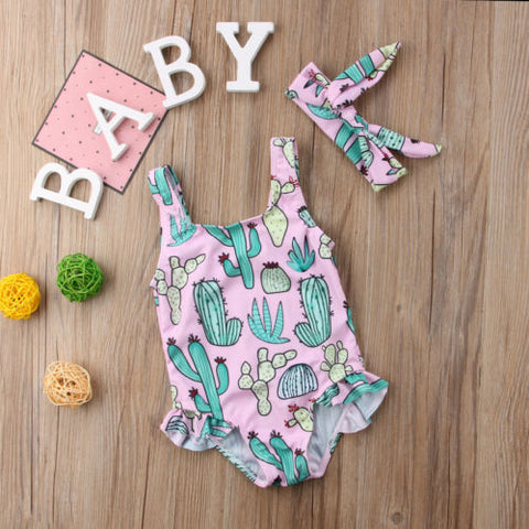 Baby Girl Cactus swimsuit and matching headband