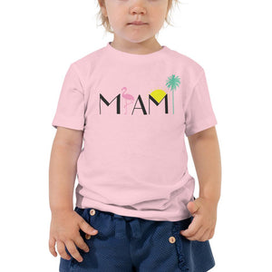 Miami Flamingo Palm Tree Toddler Short Sleeve Tee - 305 Clothing Co.