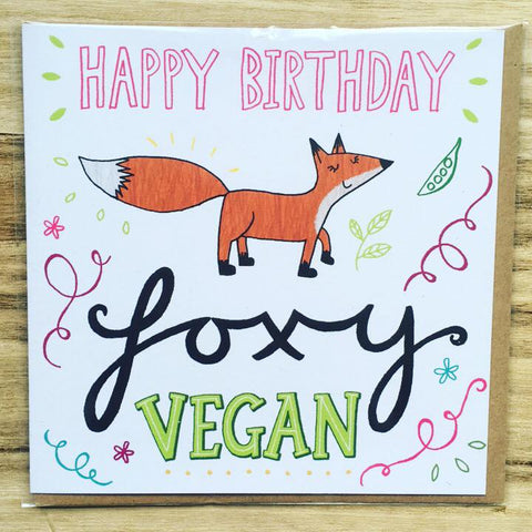 Happy Birthday Foxy Vegan Greetings Card