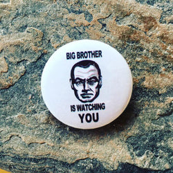 anti government pin badge, big brother is watching