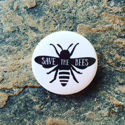 save the bees badge, vegan badge