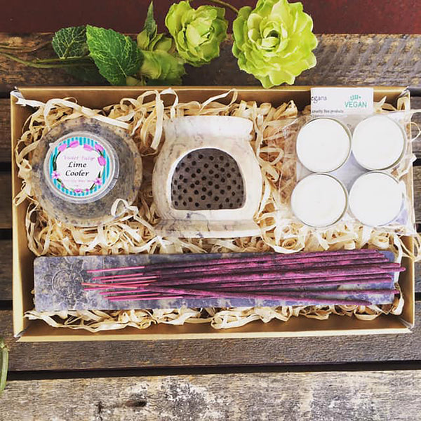 vegan gift set candle incense