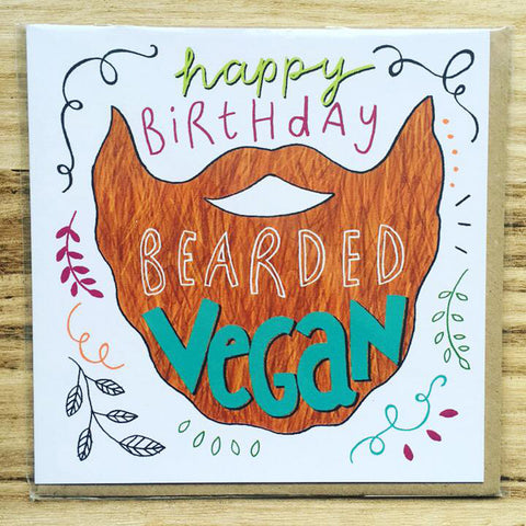 Happy Birthday Bearded Vegan Greetings Card
