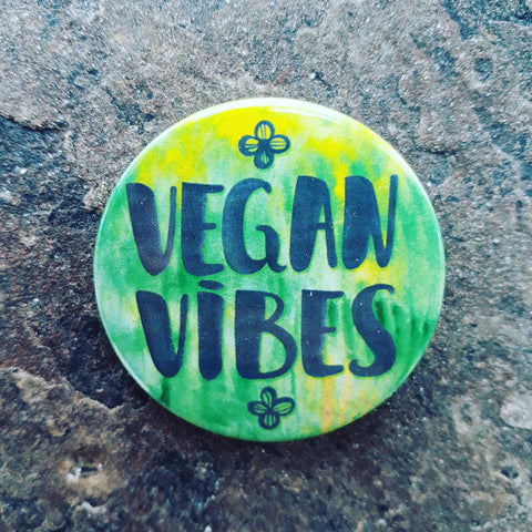 Vegan Vibes, Pin Badge, 44mm
