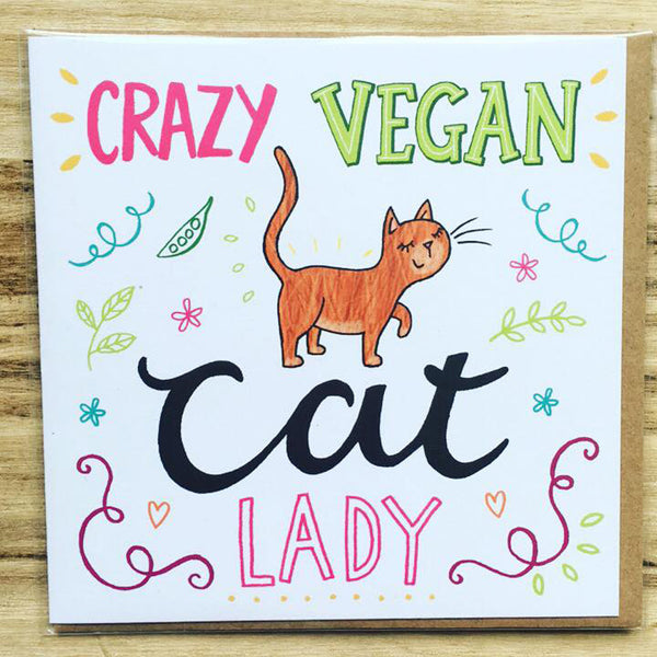 Copy of Crazy Vegan CAT Lady, Vegan Greetings Card *REDUCED