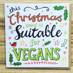 vegan christmas card, novelty vegan card